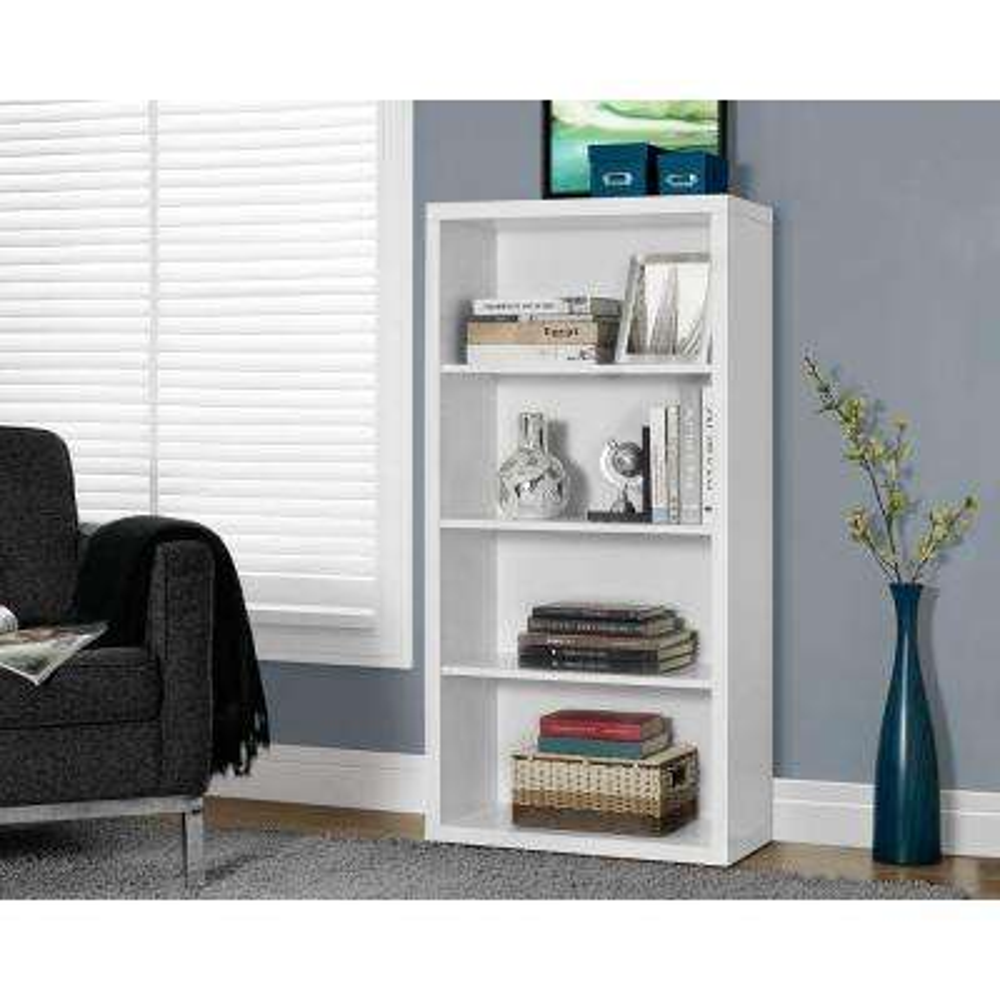 White Adjustable Open Bookcase