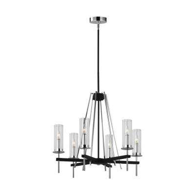 Broderick 6-Light Textured Black Chandelier with Clear Glass Shades