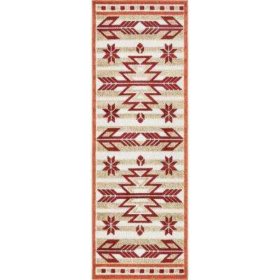 Indoor/Outdoor Albuquerque Burgundy 2' 0 x 6' 0 Runner Rug