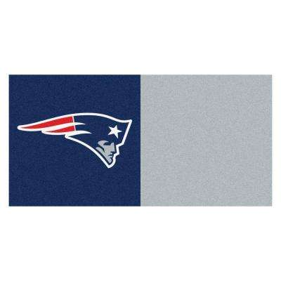 NFL - New England Patriots Navy Blue and Grey Nylon 18 in. x 18 in. Carpet Tile (20 Tiles/Case)