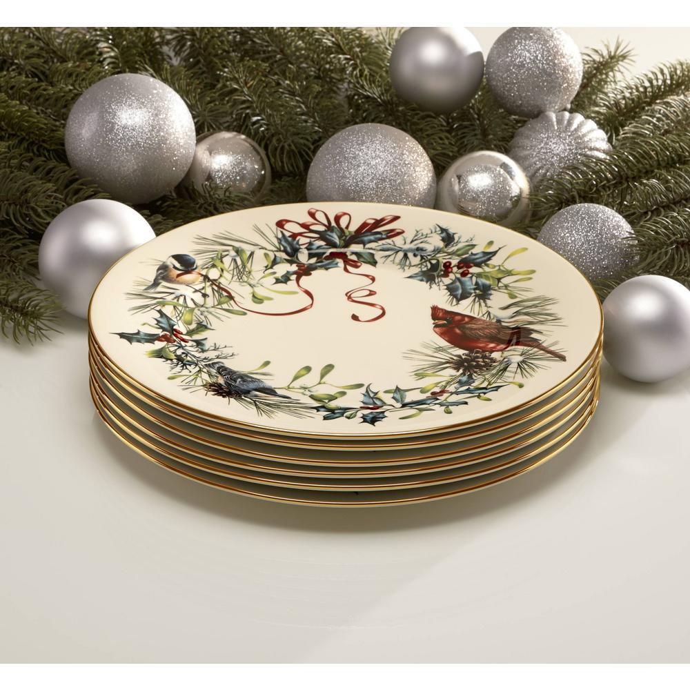 Winter Greetings 6-Piece Seasonal Ivory Bone China Dinnerware Set (Service for 6)