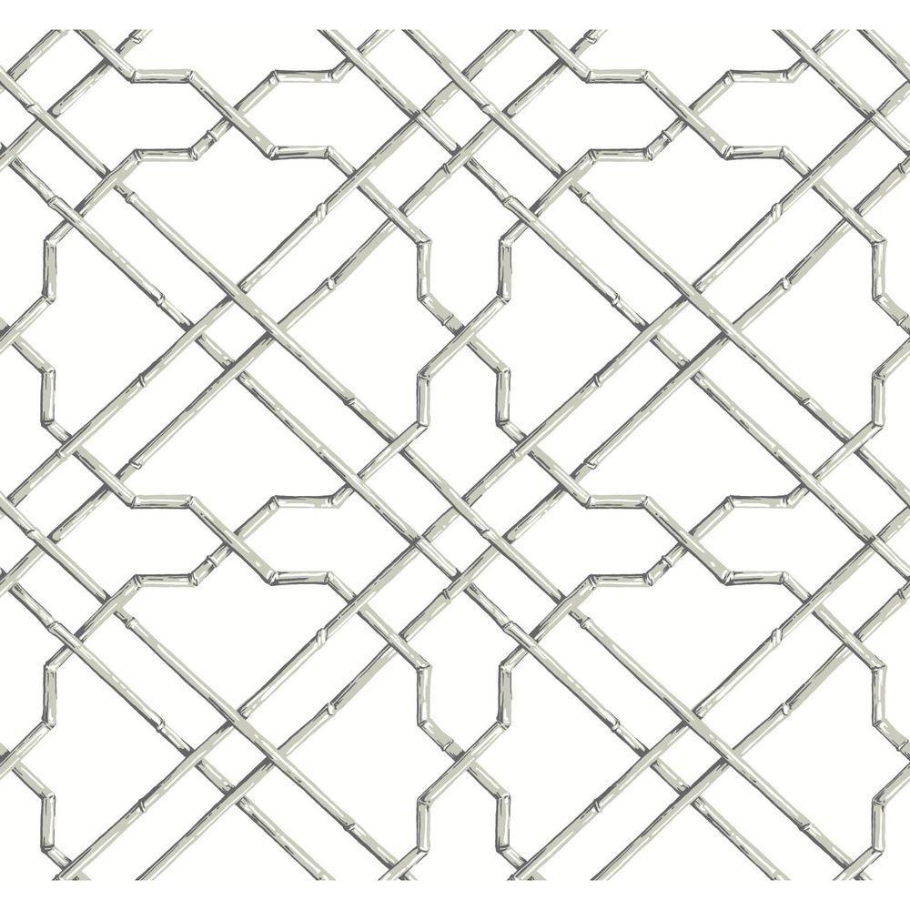 Black and White Bamboo Trellis Wallpaper