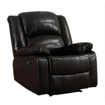 Bonded Black Leather Glider Recliner