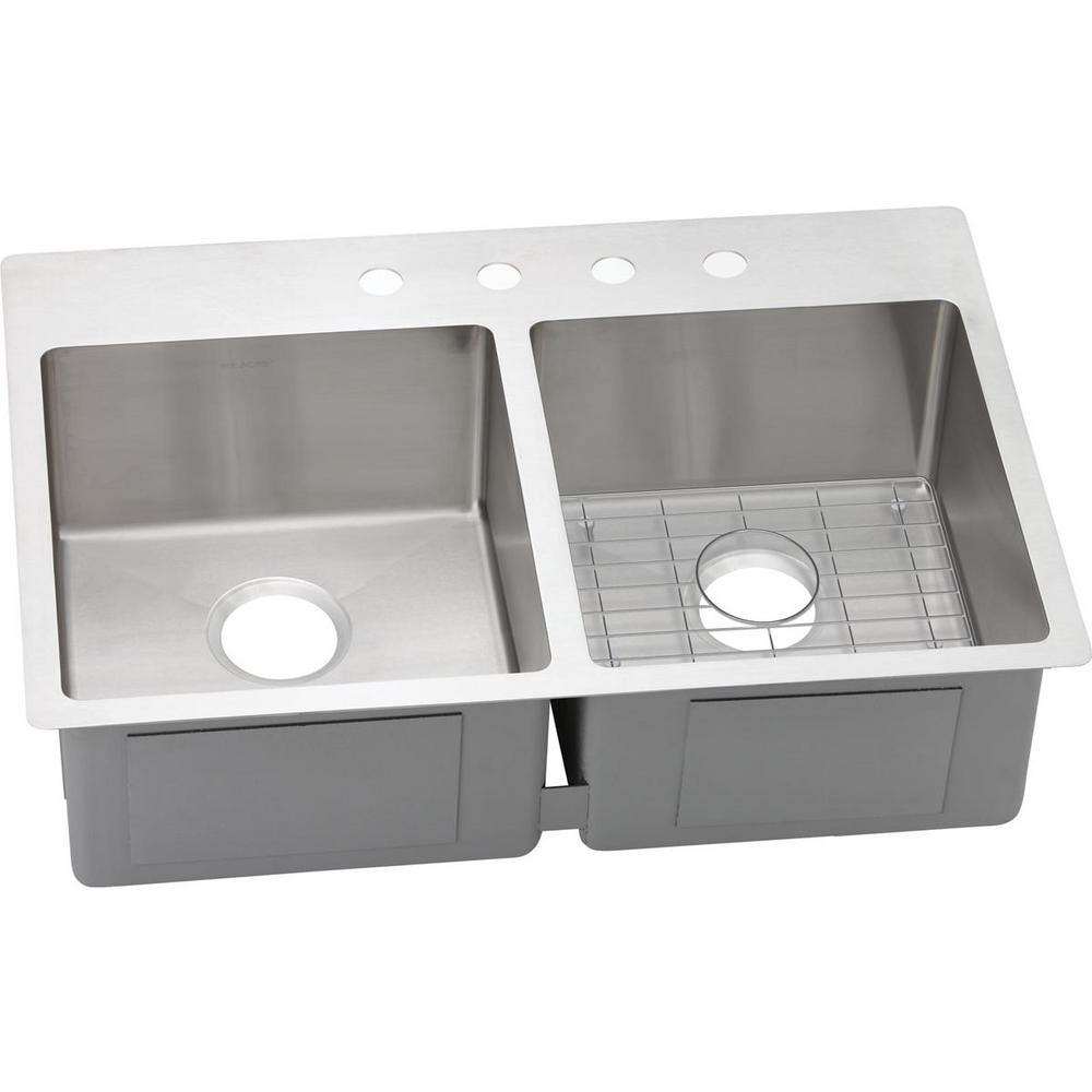 Crosstown Dual Mount Stainless Steel 33 in. 1-Hole Double Bowl Kitchen