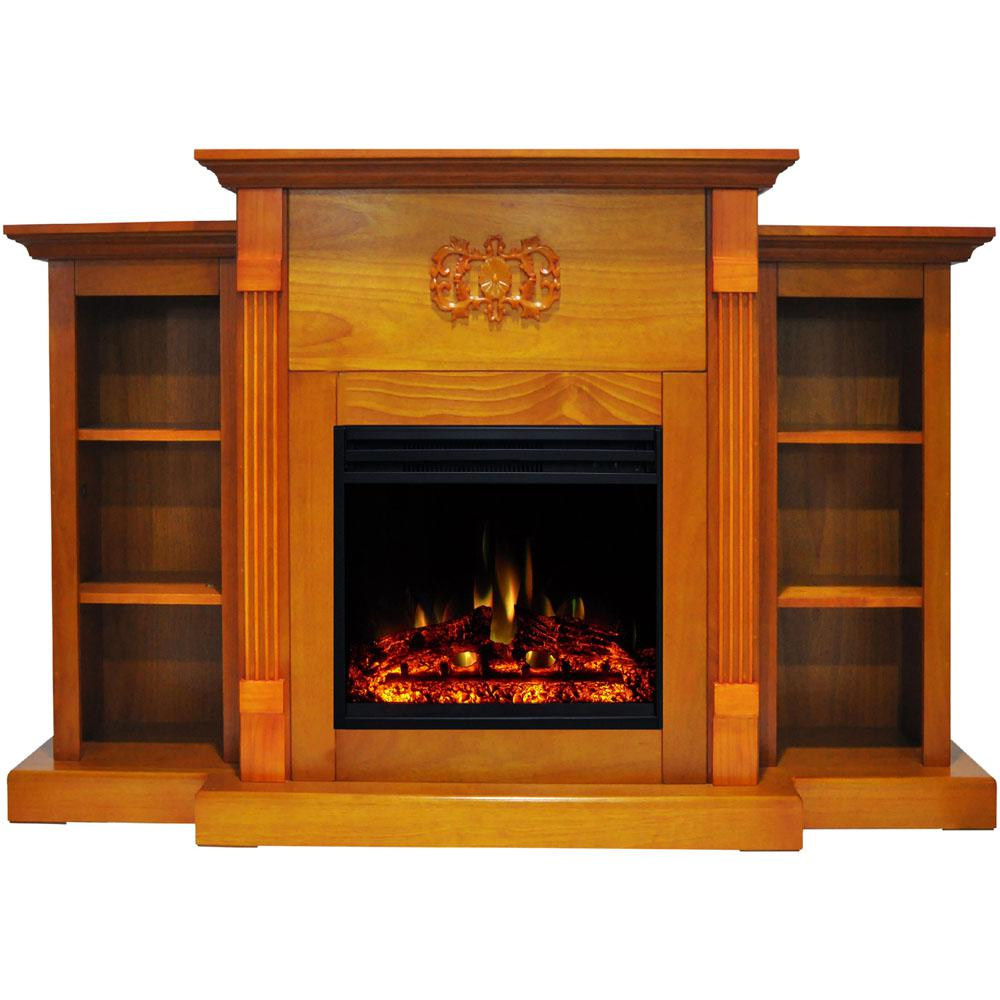 Cambridge Sanoma 72 In Electric Fireplace Heater In Teak
