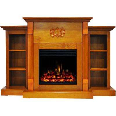 Sanoma 72 in. Electric Fireplace Heater in Teak with Mantel, Bookshelves, Enhanced Multi-Color Log Display and Remote