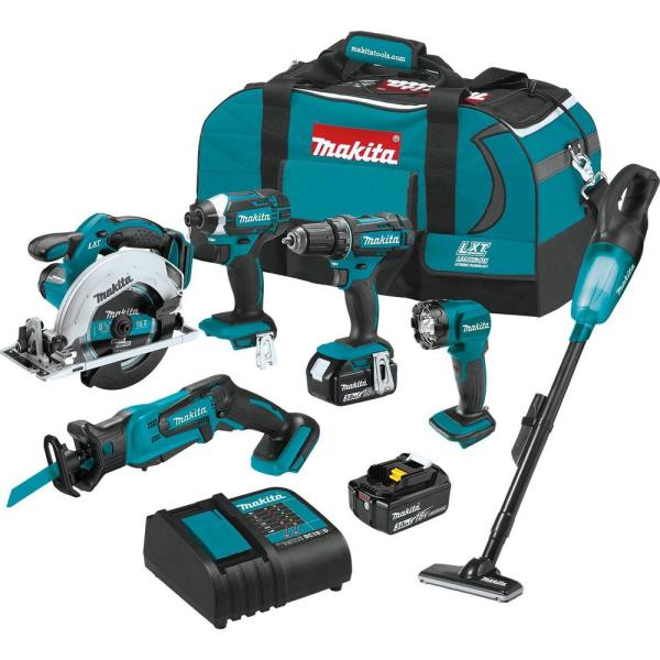 Makita 18-Volt Lithium-Ion Cordless 6-Piece Kit (Drill-Driver/ Impact Driver/ Circular Saw/ Recipro Saw/ Vacuum/ Light) 3.0Ah