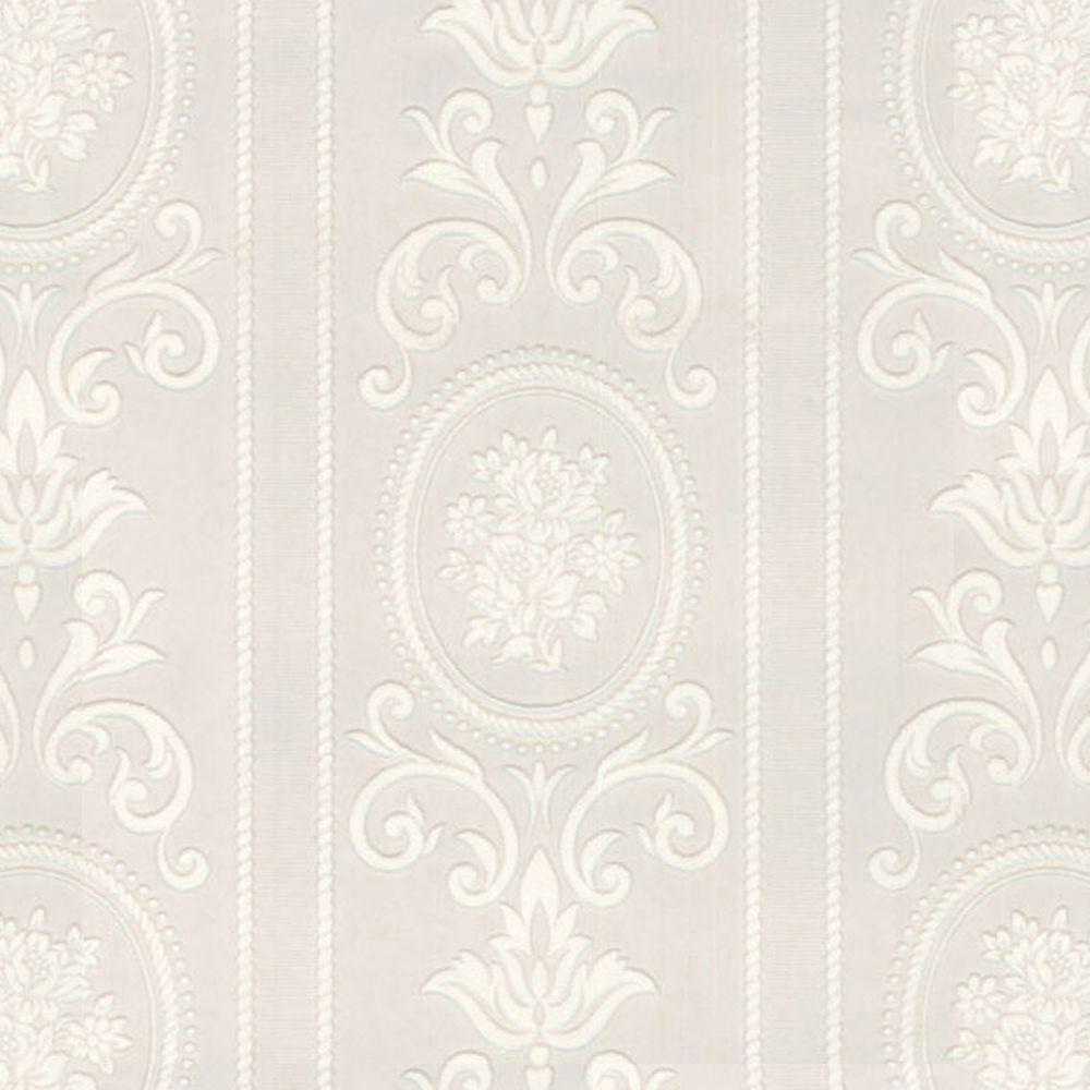Graham & Brown Cameo Stripe Paintable White Wallpaper