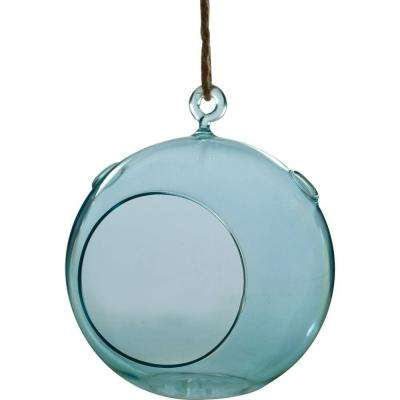Mika 6 in. x 6 in. Blue Glass Hanging Globe Terrarium with Rope