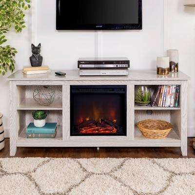 "58"" Traditional Rustic Farmhouse Electric Fireplace TV Stand - White"
