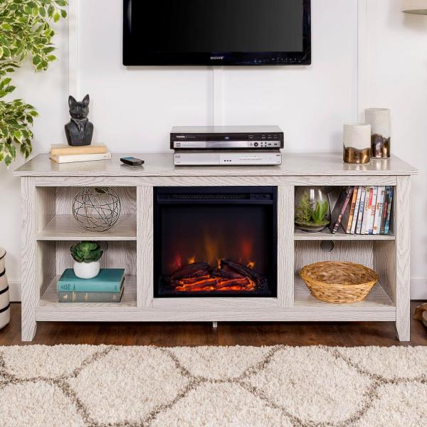58 in. Traditional Rustic Farmhouse Electric Fireplace TV Stand - White