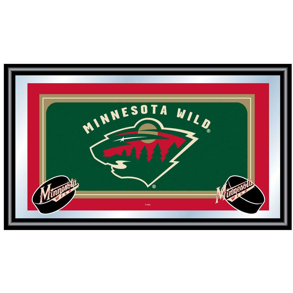 Trademark NHL Minnesota Wild Logo 15 in. x 26 in. Black Wood Framed Mirror