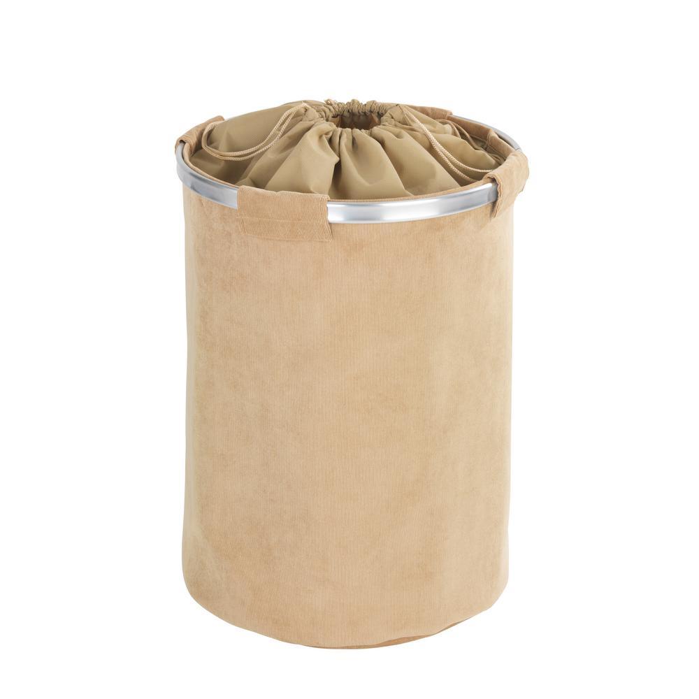 Wenko cordoba beige laundry hamper 62086100 the home depot for Beige bathroom bin