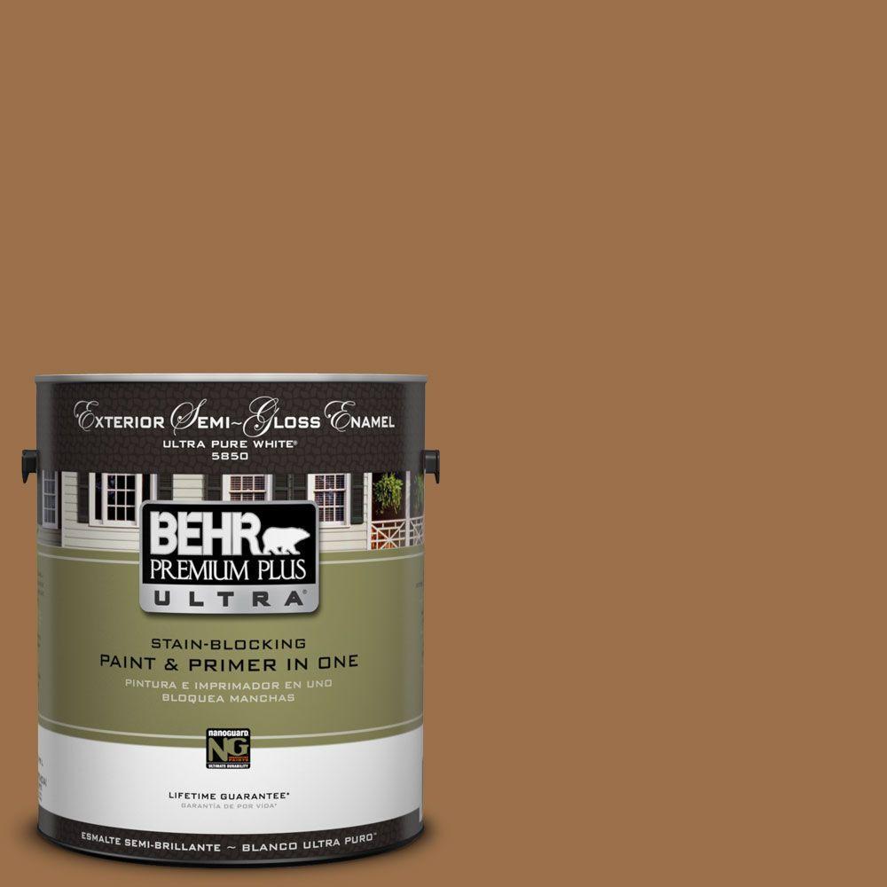 BEHR Premium Plus Ultra 1-Gal. #UL150-17 Olympic Bronze Semi-Gloss Enamel Exterior Paint