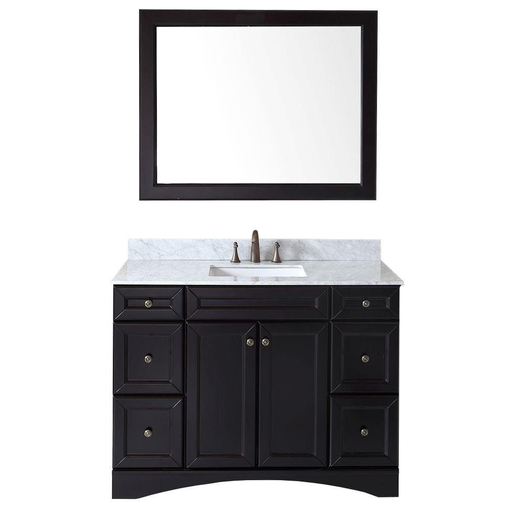 Virtu USA Talisa 48 in. Vanity in Espresso with Marble Vanity Top in Italian Carrara White and Mirror