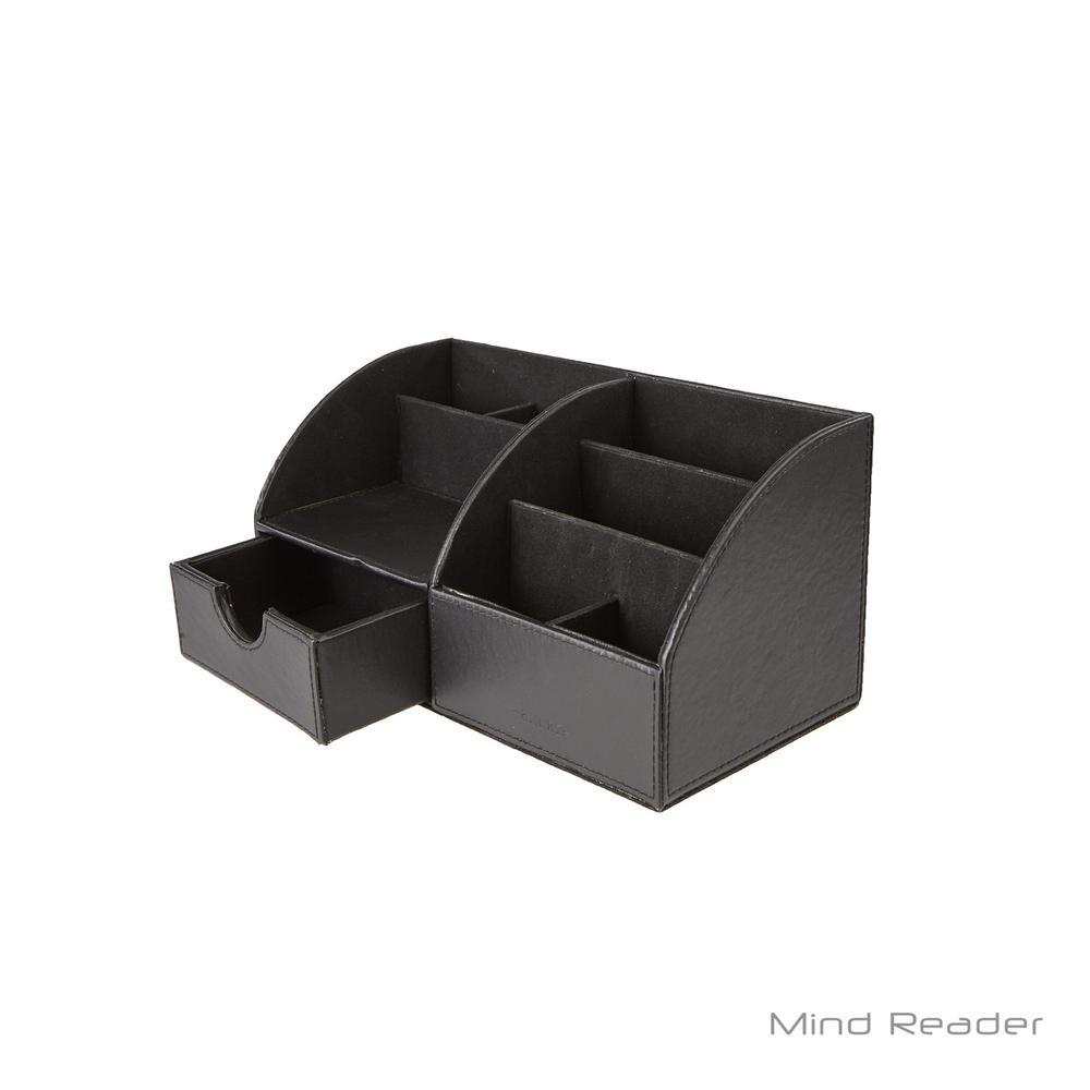 Mind Reader Faux Leather Curved Desk Organizer Black