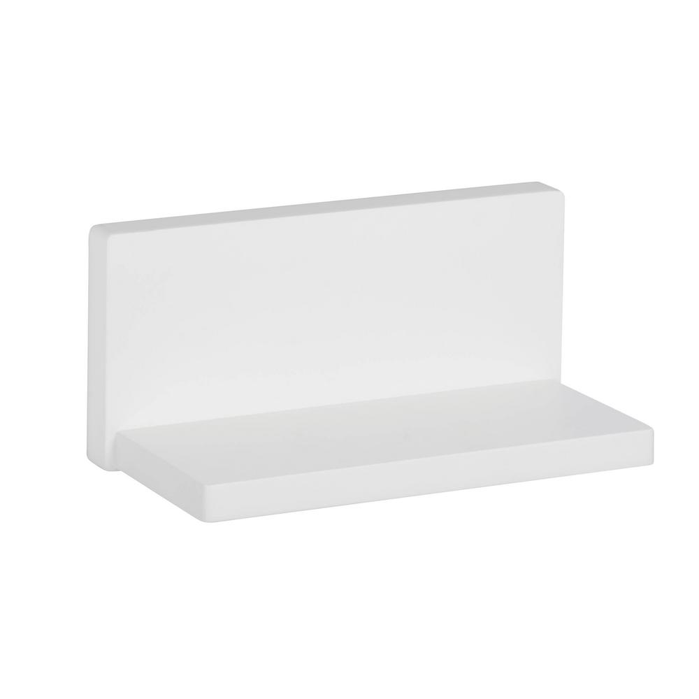 8.27 in. x 4.53 in. L Shape Wall Shelf White Decorative