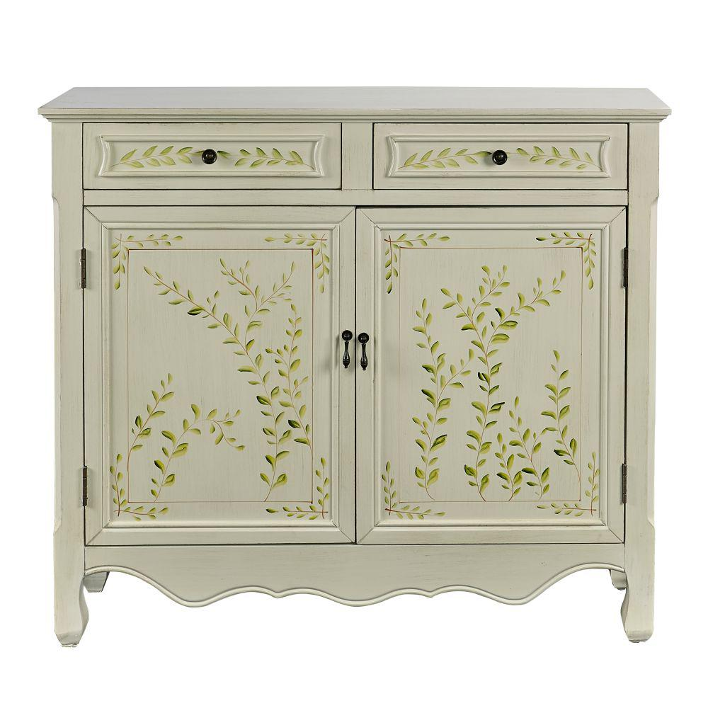 36.25 in. H Antique White Wooden Hand Painted Console Table with 2-Door and 2-Drawer
