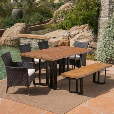 Taylor Multi-Brown 6-Piece Polyethylene Wicker Outdoor Dining Set with Beige Cushions