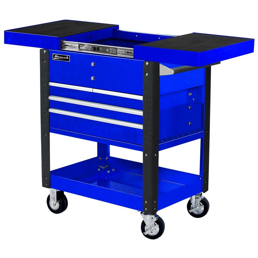 Homak Professional 35 in. 4-Drawer Slide Top Service Utility Cart in Blue