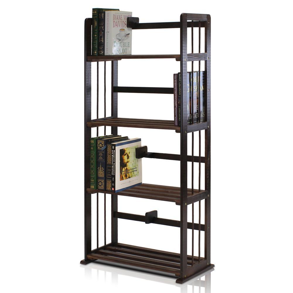 Pine Espresso Color Solid Wood 4-Shelf Open Bookcase