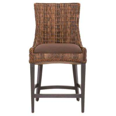 Greco 26 in. Brown Weave Wicker, Espresso Counter Stool (Set of 2)