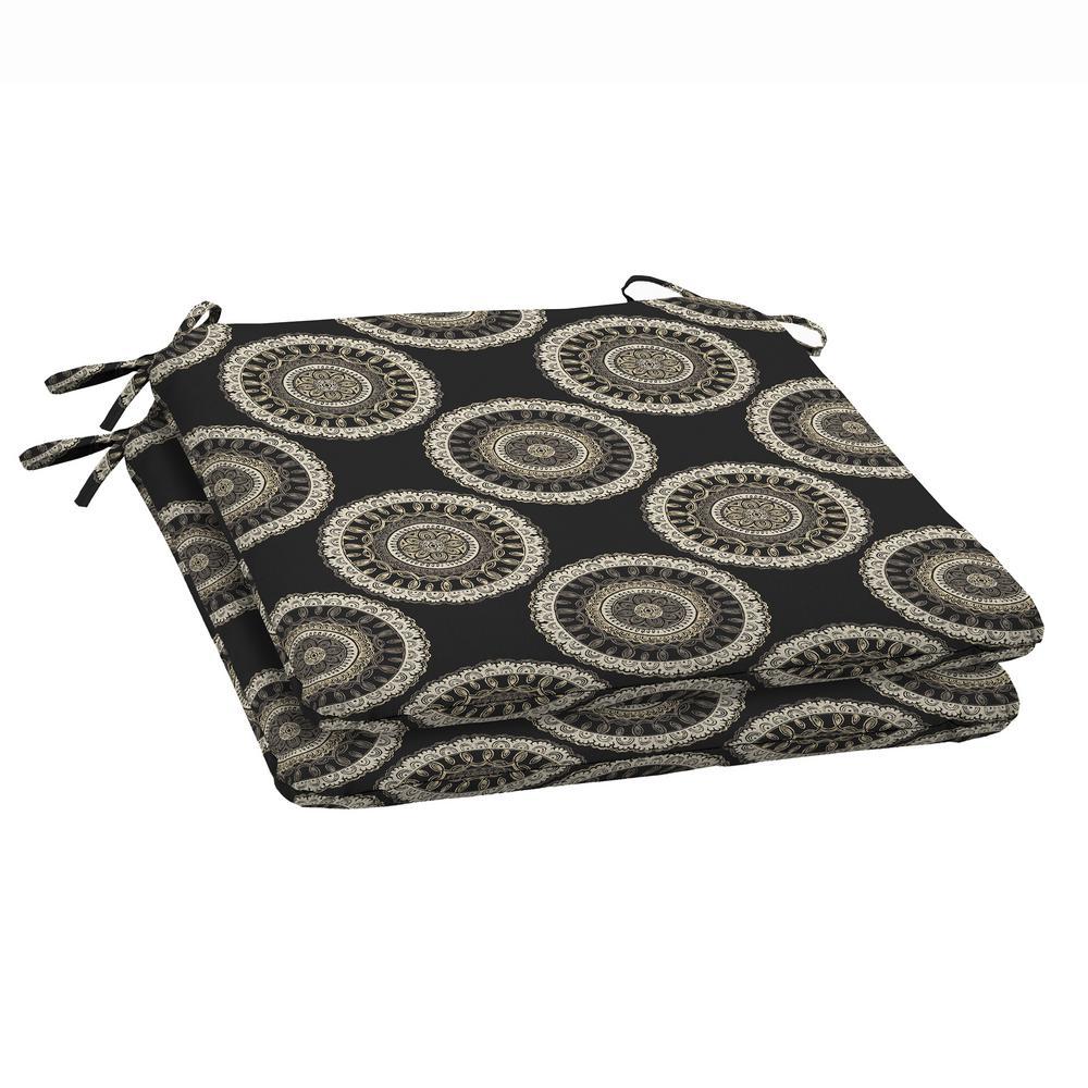 Black Geo Outdoor Seat Cushion (2-Pack)