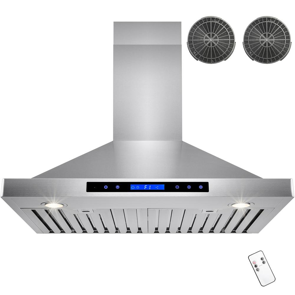 Convertible Kitchen Wall Mount Range Hood In Stainless Steel With Touch  Control And Carbon Filter HD RH0224   The Home Depot