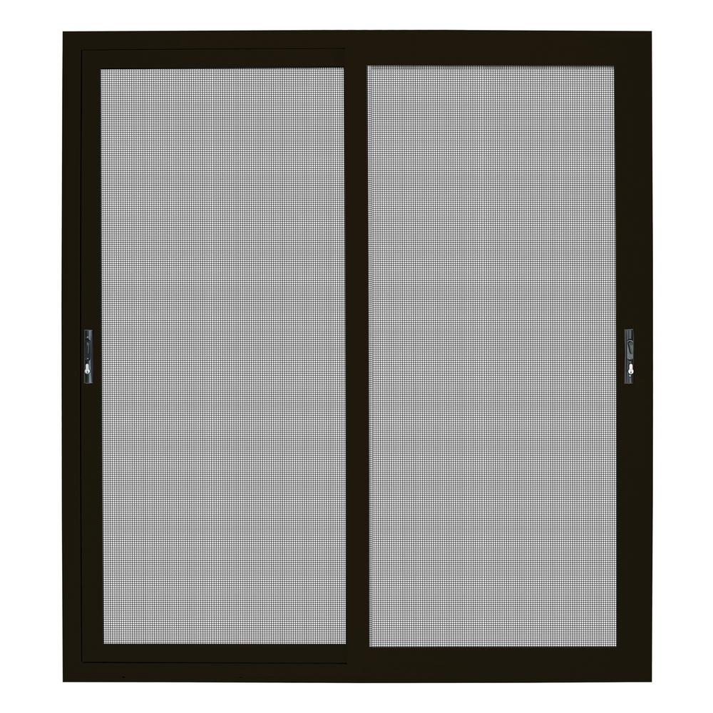Unique Home Designs 72 in  x 80 in  Bronze Sliding Ultimate Security Patio  Screen Door with Meshtec Screen
