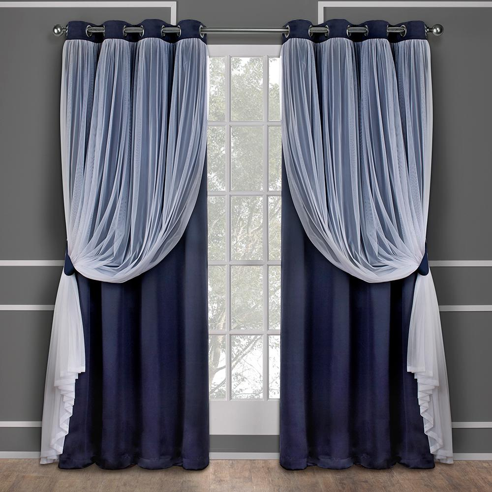 catarina turquoise layered solid blackout and sheer grommet top window curtain eh8258 08 2 108g. Black Bedroom Furniture Sets. Home Design Ideas