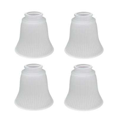 4-5/8 in. Frosted Ribbed Ceiling Fan Replacement Glass Shade (4-Pack)