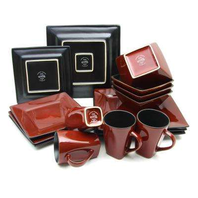 Kiesling 16-Piece Red Hard Square Dinnerware Set
