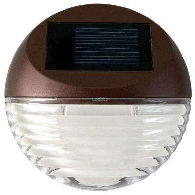 Solar Powered Mini LED Bronze Round Outdoor Deck Light