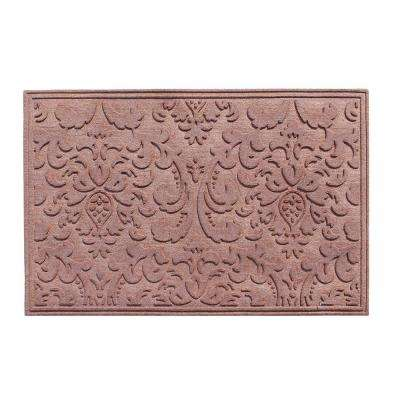 A1HC Brocade Light Brown 24 in. x 36 in. Eco-Poly Scraper Mats with Anti-Slip Fabric Finish and Tire Crumb Backing