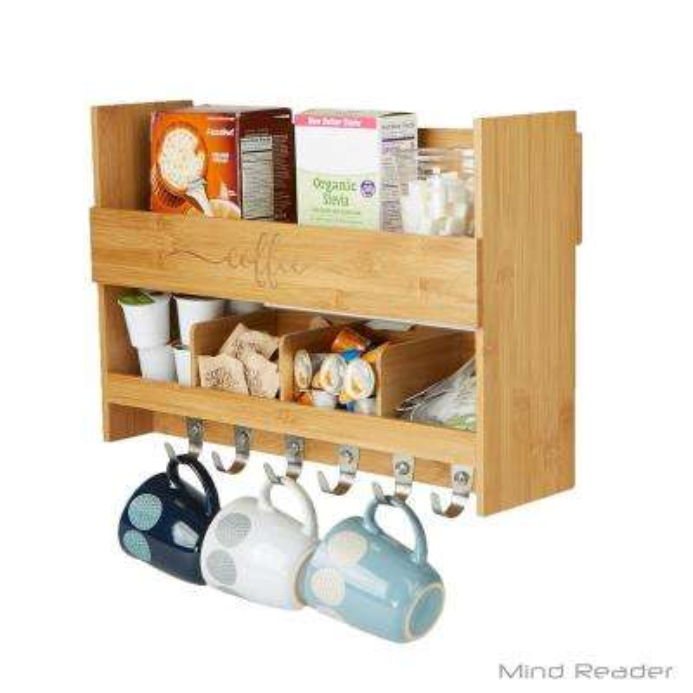 5.51 in. L x 18.19 in. W x 12.6 in. H 2-Shelf Wall Mount Kitchen Shelf with Coffee Rack
