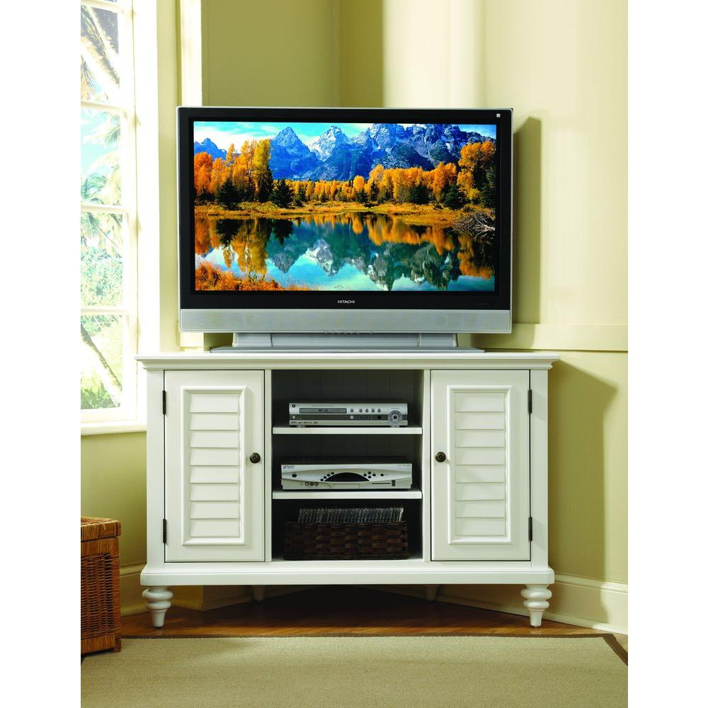 Home Styles Bermuda Brushed White Storage Entertainment Center