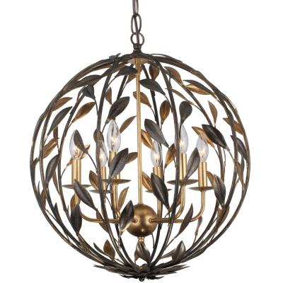 Broche 6-Light English Bronze and Antique Gold Sphere Chandelier
