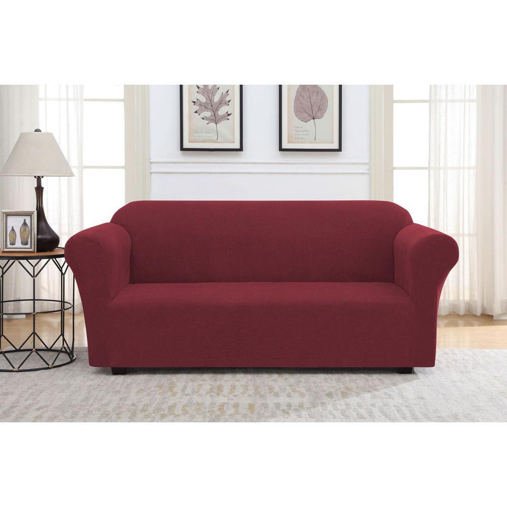 Cabernet Striae Stretch Fit Sofa Slipcover