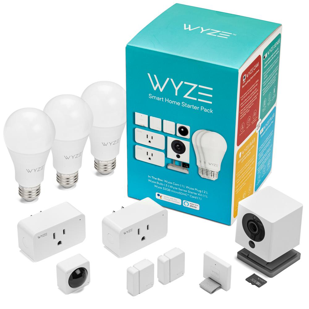 Wyze Smart Home Starter Bundle Includes Camera Contact Sensor 2 Motion Sensor Bulb 3 Plug 2 Sd Card Wshsb The Home Depot