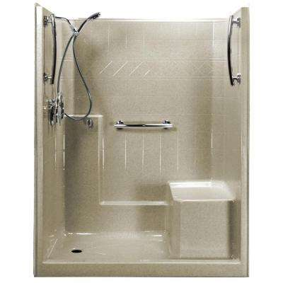 Freedom Chrome-V 60 in. x 33 in. x 77 in. 1-Piece Low Threshold Shower Stall in Beach, Shower Kit, R-Seat, Left Drain