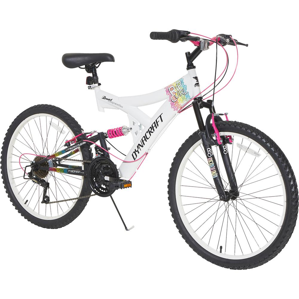 Dual Suspension Mountain Bike >> Dynacraft 24 In Rip Curl Girls Bike With Dual Suspension