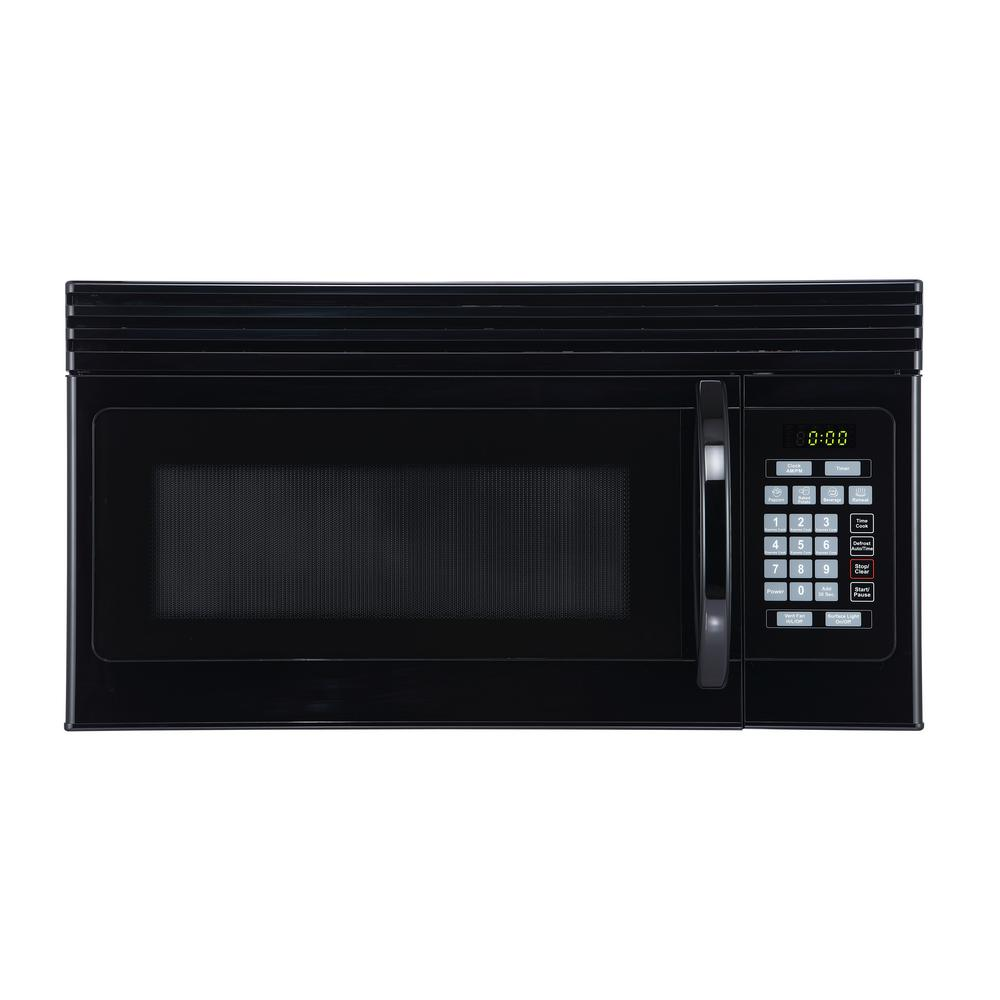 BLACK+DECKER 1.6 cu. Ft. Over-the-Range Microwave with Top Mount Air Recirculation Vent in Black
