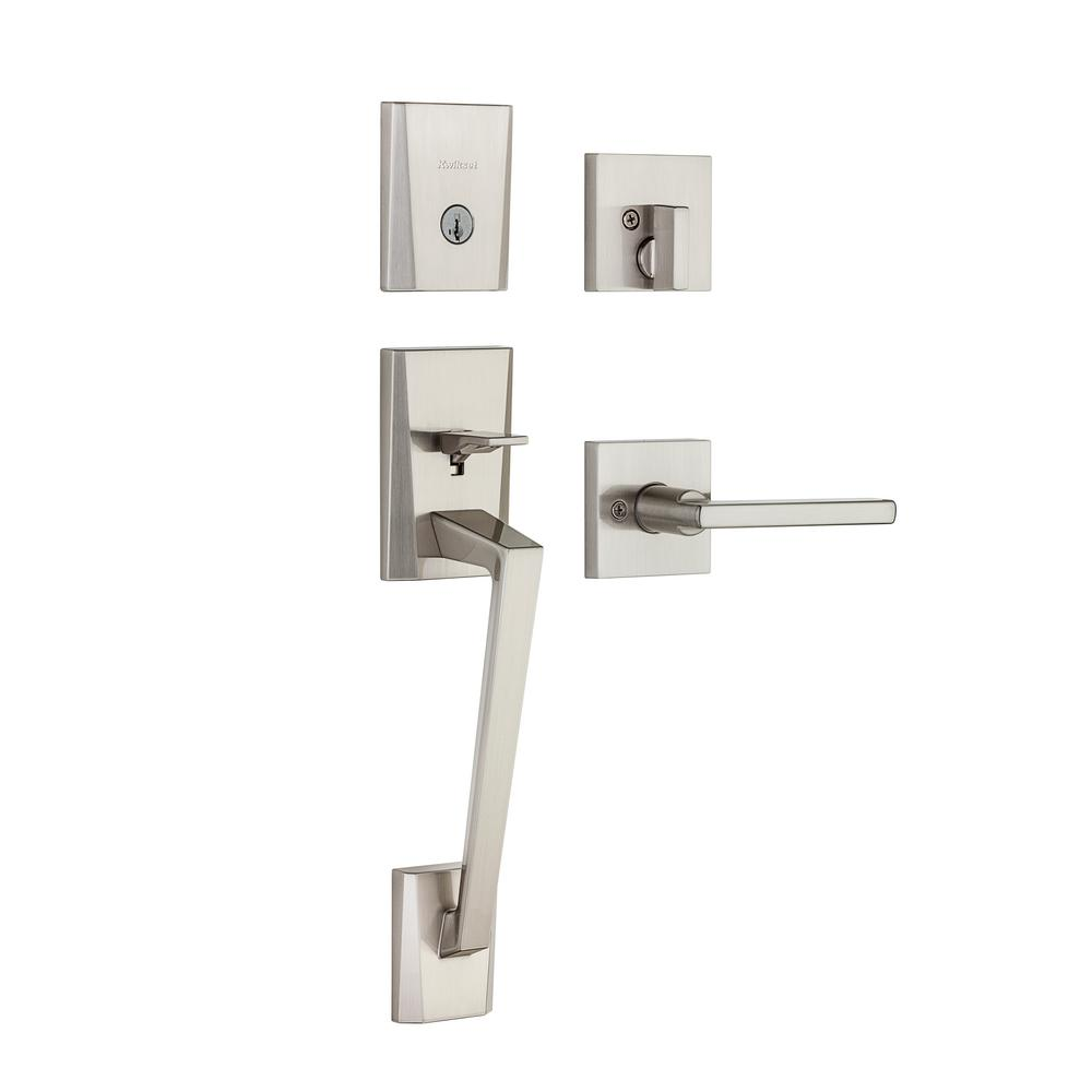 Kwikset Camino Low Profile Satin Nickel Single Cylinder Entry Door Handleset With Halifax Lever Featuring Smartkey