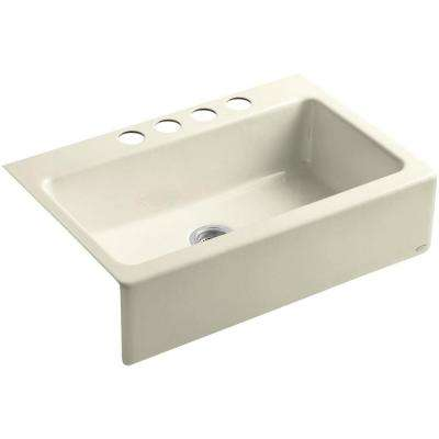 Dickinson Farmhouse Apron-Front Cast Iron 33 in. 4-Hole Single Basin Kitchen Sink in Cane Sugar