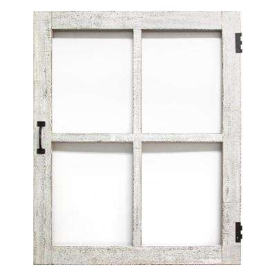 Distressed White Faux Window Pane Wooden Wall Art
