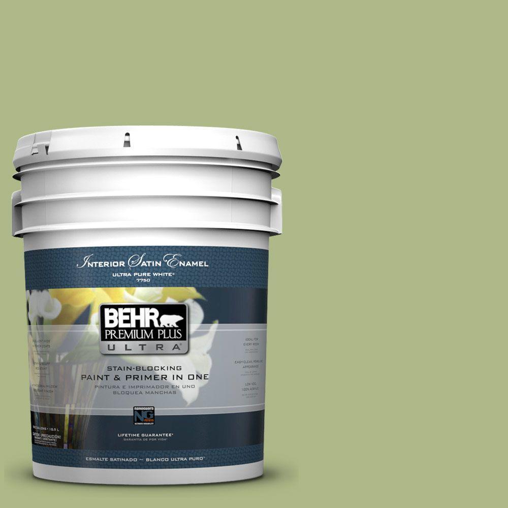 BEHR Premium Plus Ultra 5-gal. #PPU10-7 Lima Green Satin Enamel Interior Paint
