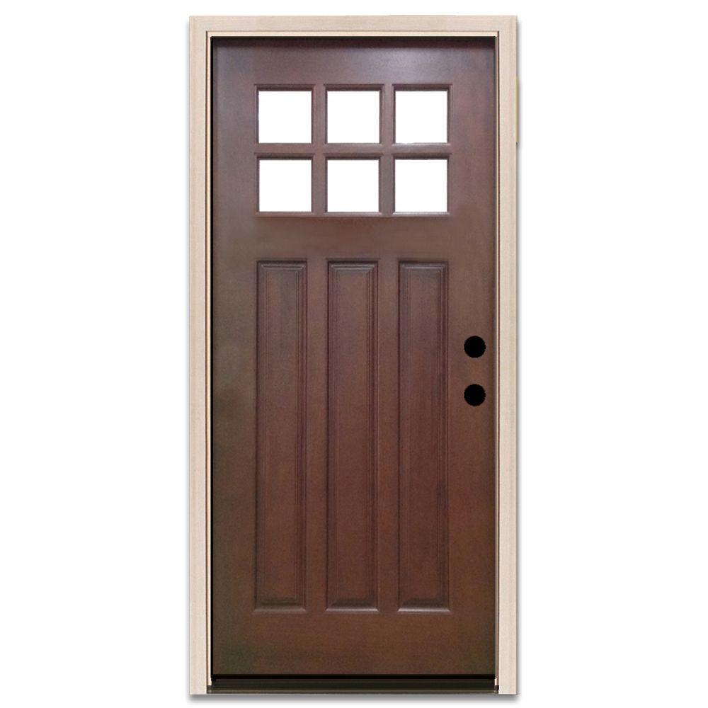 Steves sons 32 in x 80 in craftsman 6 lite stained for Doors for front door