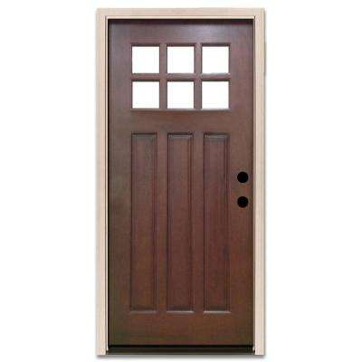 Good Craftsman 6 Lite Stained Mahogany Wood Prehung Front Door