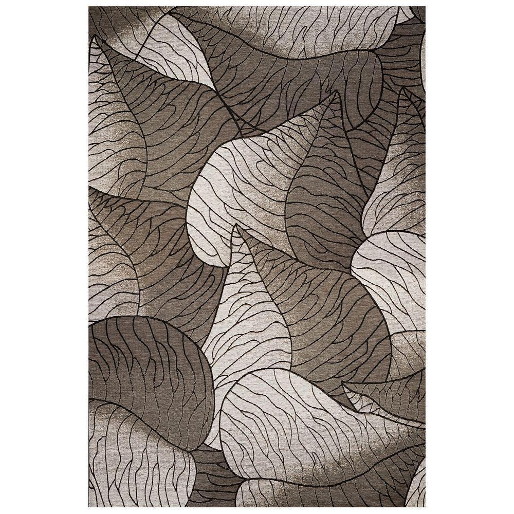 Kas Rugs Leaf Motif Silver 8 ft. 1 in. x 11 ft. 2 in. Area Rug