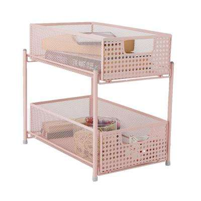 2-Tier Pink Mesh Cabinet Storage Organizer with Pull-Out Basket